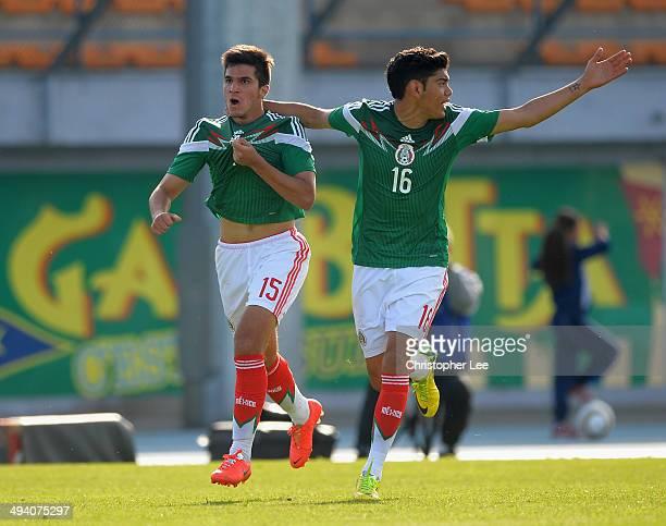 Carlos Trevino Luque of Mexico celebrates scoring their goal with Jorge Espericueta Escamilla during the Toulon Tournament Group A match between...