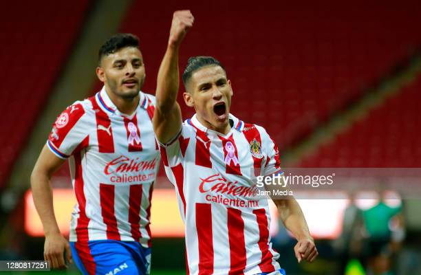 Carlos Uriel Antuna of Chivas celebrates after scoring the first goal of his team during the 14th round match between Chivas and Atlas as part of the...