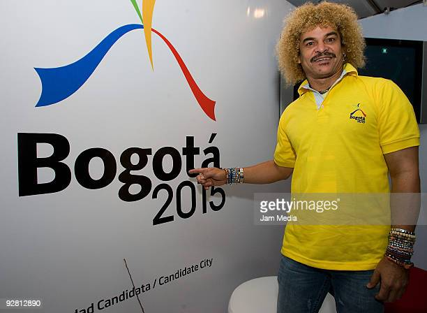 Carlos Vaderrama poses at the stand of Colombia during the XLVII Pan American Sports Organization General Assembly at the Hilton hotel on November 5...