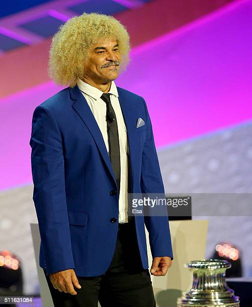 Carlos Valdererama waves has he is introduced before the 2016 Copa America Centenario Draw Ceremony at Hammerstein Ballroom on February 21 2016 in...
