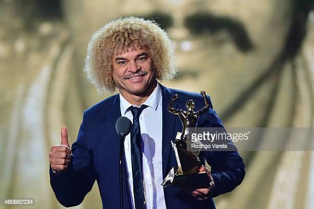 Carlos Valderrama accepts award onstage at the inaugural Premios Univision Deportes backstage at Univision Studios on December 18 2014 in Miami...