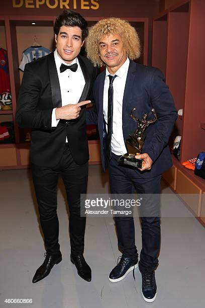 Carlos Valderrama and Danilo Carrera attend the inaugural Premios Univision Deportes at Univision Studios on December 17 2014 in Miami Florida