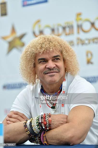 Carlos Valderrama attends the Golden Foot Award press conference at Grimaldi Forum on October 16 2013 in Monaco Monaco