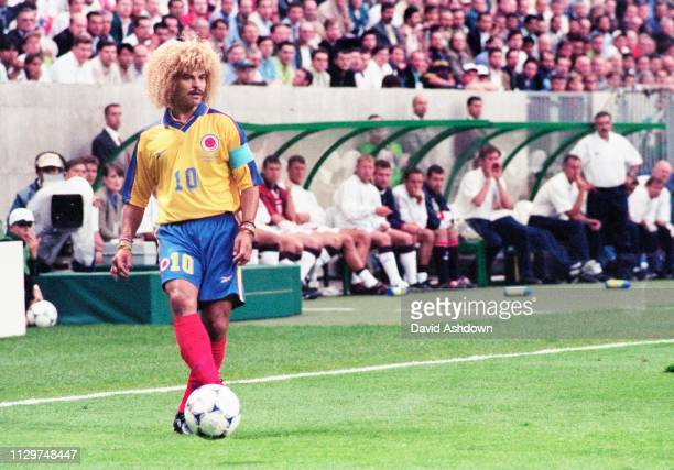 Carlos Valderrama captain of Colombia about to take a free kick during England v Colombia at the State FelixBollaert Lens 26th June 1998 FIFA World...