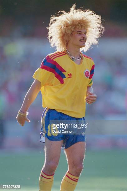 Carlos Valderrama of Colombia during the Round of 16 match against the Cameroon at the 1990 FIFA World Cup on 23 June 1990 at the San Paolo Stadium...