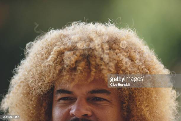 Carlos Valderrama of Colombia poses for a portrait for soft drinks manufacturer PepsiCola on 23 December 1999 in Seville Spain