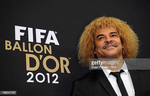 Carlos Valderrama of Colombia poses for photographs on the red carpet during the FIFA Ballon d'Or Gala 2012 at the Kongresshaus on January 7 2013 in...