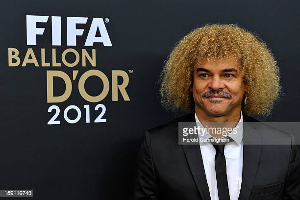 Carlos Valderrama poses during the red carpet arrivals of the FIFA Ballon d'Or Gala 2013 at Congress House on January 7 2013 in Zurich Switzerland