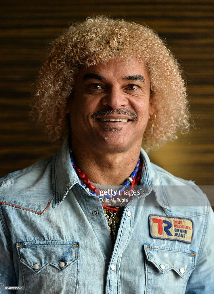 Carlos Valderrama poses for a portrait shoot prior to the 2013 Golden Foot Award on October 15, 2013 in Monte-Carlo, Monaco.