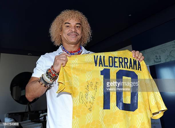 Carlos Valderrama shows signed memorabilia ahead of his visit to the Champions Promenade at Grimaldi Forum on October 16 2013 in MonteCarlo Monaco