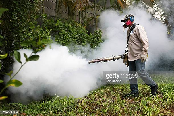 Carlos Varas, a Miami-Dade County mosquito control inspector, uses a Golden Eagle blower to spray pesticide to kill mosquitos in the Miami Beach...