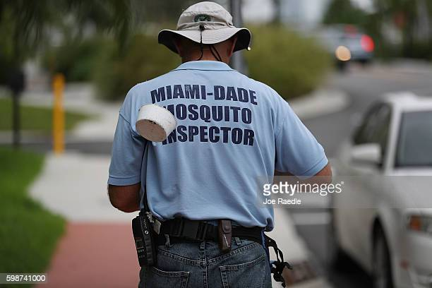 Carlos Varas a MiamiDade County mosquito control inspector walks through the streets looking for places that might hold breeding mosquitos that are...