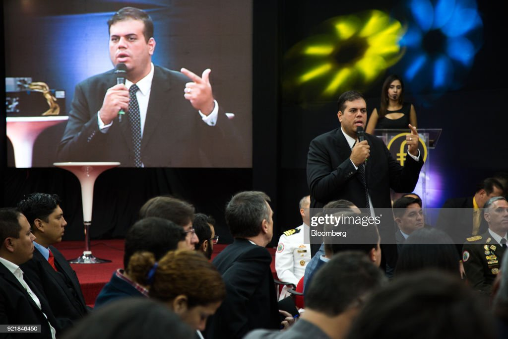Carlos Vargas, Venezuela's crypto currency superintendent, speaks during the Petro cryptocurrency launch event in Caracas, Venezuela, on Tuesday, Feb. 20, 2018. Maduro launched Petro to use as a new alternative payment system amid hyperinflation and the eroding bolivar. Photographer: Wil Riera/Bloomberg via Getty Images