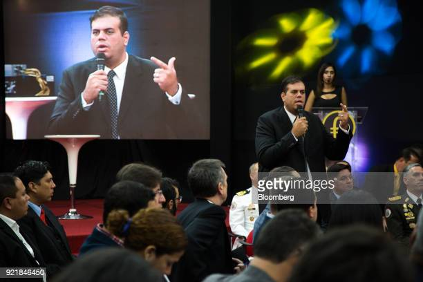 Carlos Vargas Venezuela's crypto currency superintendent speaks during the Petro cryptocurrency launch event in Caracas Venezuela on Tuesday Feb 20...