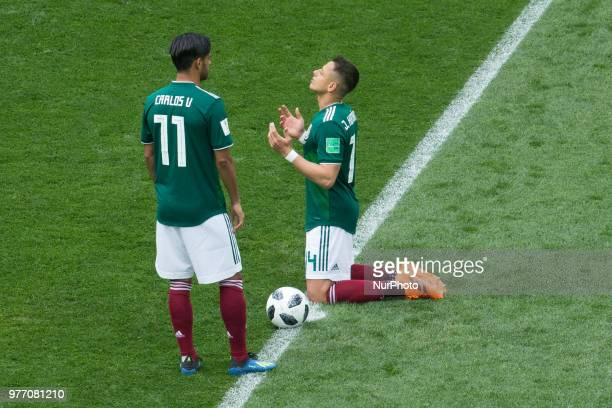 Carlos Vela and Javier Hernandez of Mexico during the Russia 2018 World Cup Group F football match between Germany and Mexico at the Luzhniki Stadium...