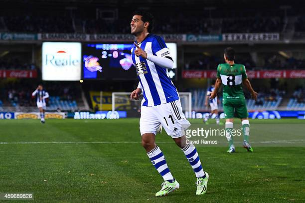 Carlos Vela Garrido of Real Sociedad celebrates after scoring his team's third goal during the La Liga match between Real Socided and Elche FC at...