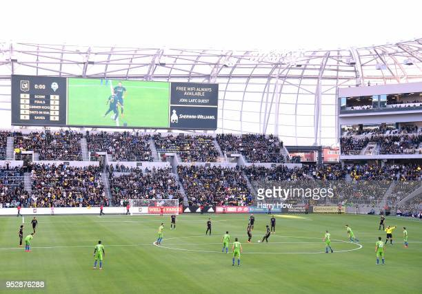 Carlos Vela makes the first touch in the inaugural home game against the Seattle Sounders at Banc of California Stadium on April 29 2018 in Los...