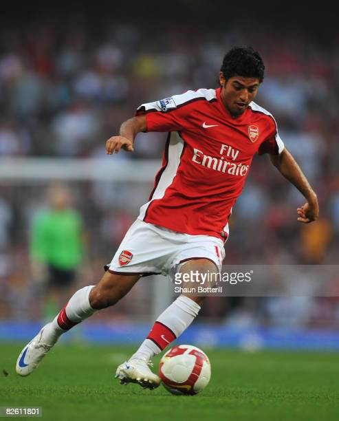 Carlos Vela of Arsenal in action during the Barclays Premier League match between Arsenal and Newcastle United at the Emirates Stadium on August 30...
