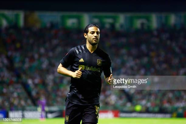 Carlos Vela of LAFC during the round of 16 match between Leon and LAFC as part of the CONCACAF Champions League 2020 at Leon Stadium on February 18...