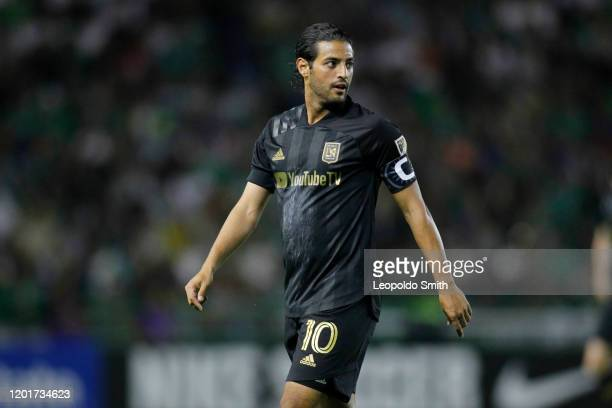 Carlos Vela of LAFC looks on during the round of 16 match between Leon and LAFC as part of the CONCACAF Champions League 2020 at Leon Stadium on...