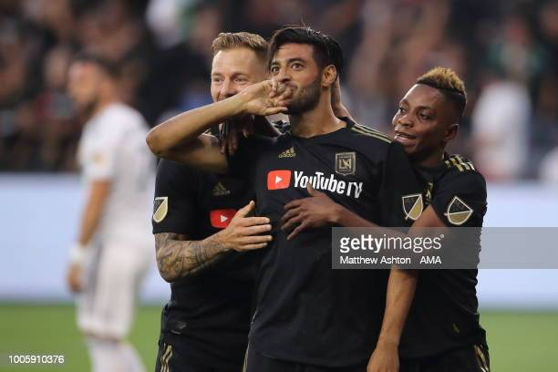 Carlos Vela of LAFC Los Angeles Football Club celebrates after scoring a goal to make it 10 during the MLS match between LAFC and LA Galaxy at Banc...