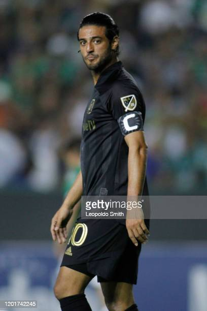 Carlos Vela of LAFC pauses during the round of 16 match between Leon and LAFC as part of the CONCACAF Champions League 2020 at Leon Stadium on...