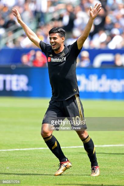 Carlos Vela of Los Angeles FC celebrates after scoring a goal in the first half against the Los Angeles Galaxy at StubHub Center on March 31 2018 in...