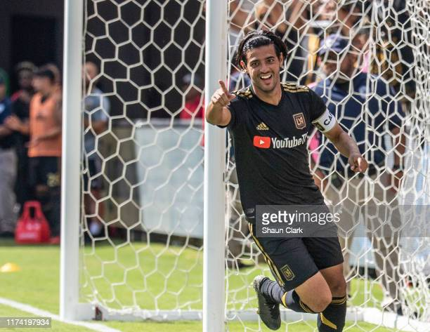 Carlos Vela of Los Angeles FC celebrates his 3rd goal during Los Angeles FC's MLS match against Sporting Kansas City at the Banc of California...