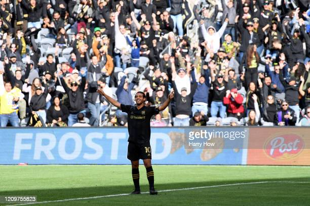 Carlos Vela of Los Angeles FC celebrates his goal against Inter Miami CF, to take a 1-1 lead, during the first half at Banc of California Stadium on...