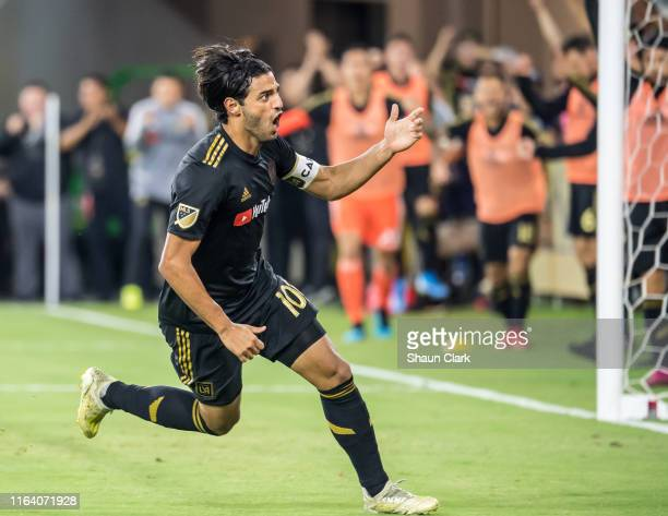 Carlos Vela of Los Angeles FC celebrates his goal during Los Angeles FC's MLS match against Los Angeles Galaxy at the Banc of California Stadium on...