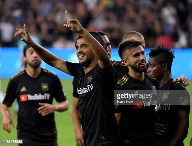 Carlos Vela of Los Angeles FC celebrates his second goal of the game to take a 20 lead over the Los Angeles Galaxy during the first half of the...