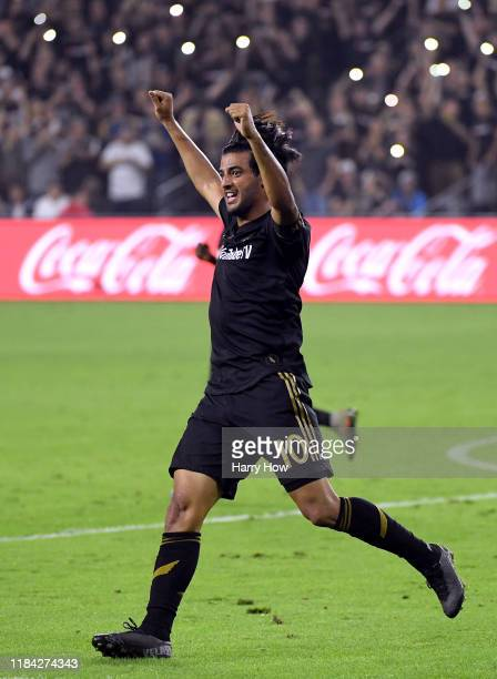 Carlos Vela of Los Angeles FC celebrates the whistle at the end of the game during a 53 win over the Los Angeles Galaxy in the Western Conference...