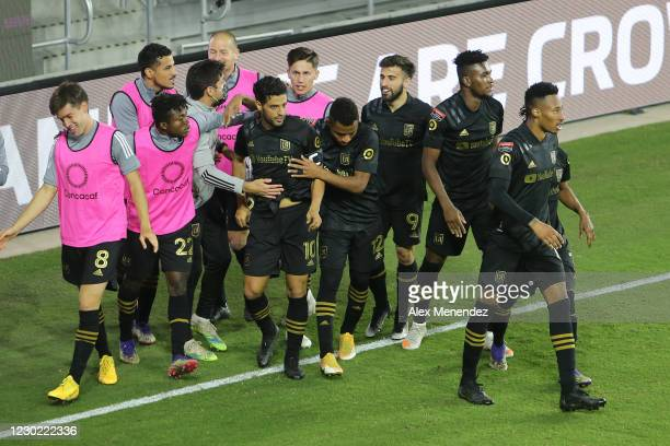 Carlos Vela of Los Angeles FC celebrates with his teammates after scoring a goal during the CONCACAF Champions League semifinal game against Club...