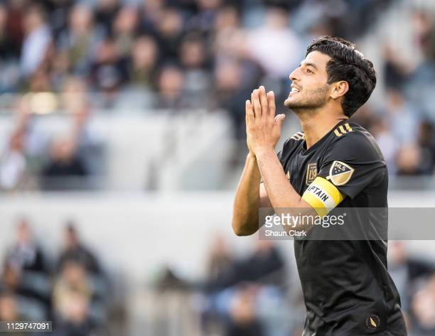 Carlos Vela of Los Angeles FC during Los Angeles FC's MLS match against Portland Timbers at the Banc of California Stadium on March 10 2019 in Los...