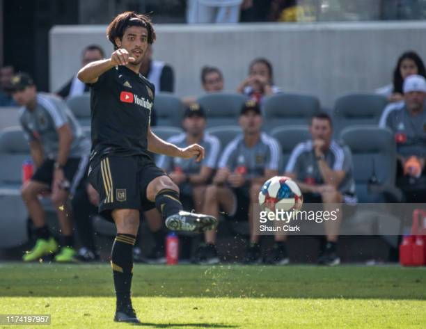 Carlos Vela of Los Angeles FC during Los Angeles FC's MLS match against Sporting Kansas City at the Banc of California Stadium on October 6 2019 in...