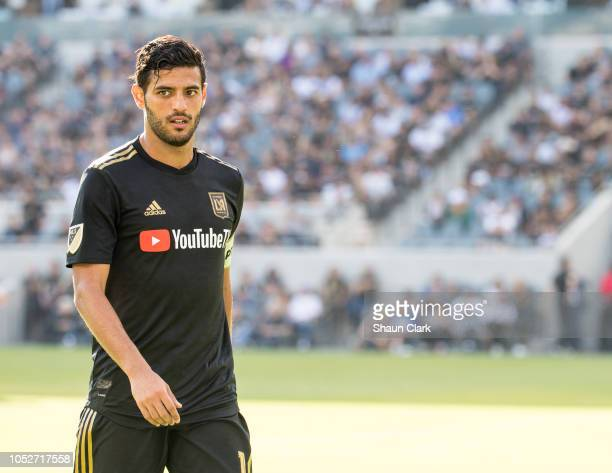 Carlos Vela of Los Angeles FC during Los Angeles FC's MLS match against Vancouver Whitecaps FC at the Banc of California Stadium on October 21 2018...