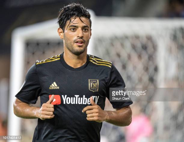 Carlos Vela of Los Angeles FC during Los Angeles FC's MLS match against Real Salt Lake at the Banc of California Stadium on August 15 2018 in Los...