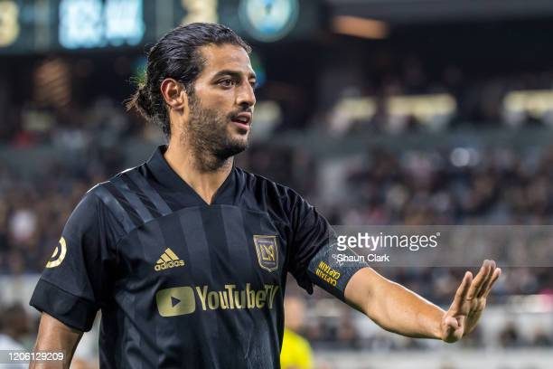 Carlos Vela of Los Angeles FC gestures during the MLS match against Philadelphia Union at the Banc of California Stadium on March 8 2020 in Los...