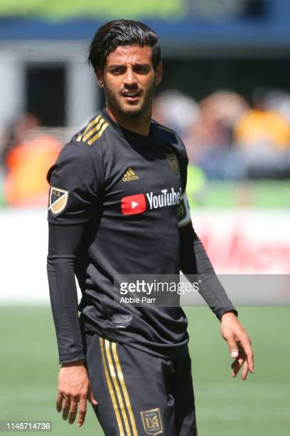 Carlos Vela of Los Angeles FC looks on against the Seattle Sounders in the first half during their game at CenturyLink Field on April 28 2019 in...