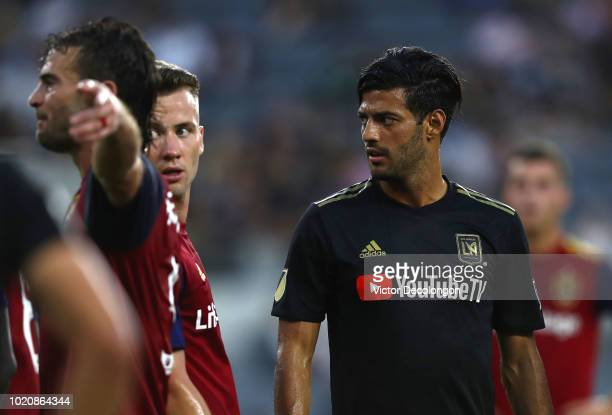 Carlos Vela of Los Angeles FC looks on during the first half of the MLS match against Real Salt Lake at Banc of California Stadium on August 15 2018...