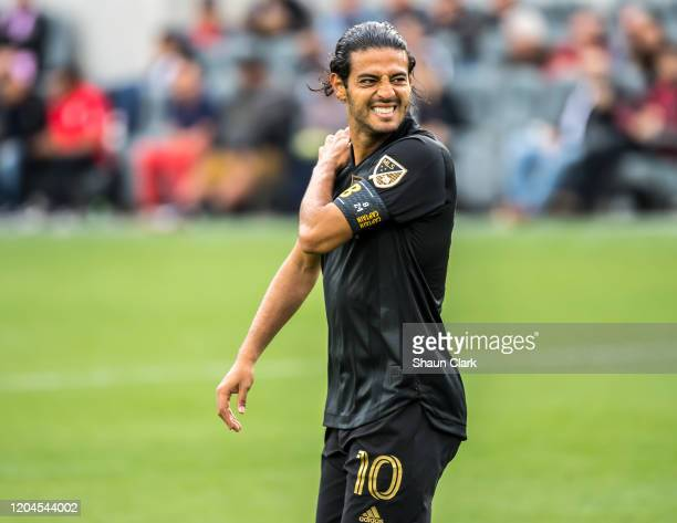 Carlos Vela of Los Angeles FC looks on during the MLS match against Inter Miami at the Banc of California Stadium on March 1 2020 in Los Angeles...