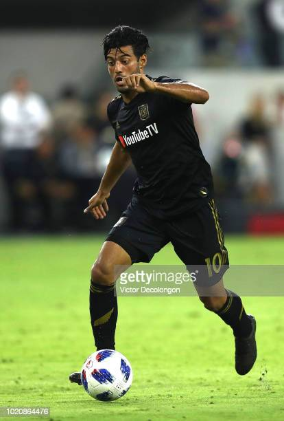 Carlos Vela of Los Angeles FC plays the ball at midfield during the second half of the MLS match against Real Salt Lake at Banc of California Stadium...