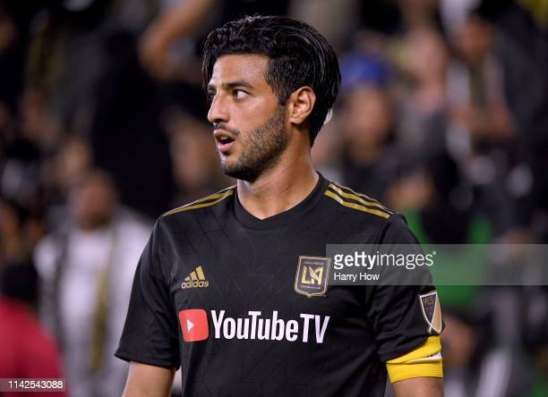 Carlos Vela of Los Angeles FC reacts after earning a corner kick during a 20 win over FC Cincinnati at Banc of California Stadium on April 13 2019 in...