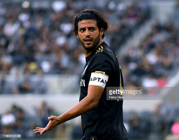 Carlos Vela of Los Angeles FC reacts for a call from the referee during the first half against the Vancouver Whitecaps at Banc of California Stadium...