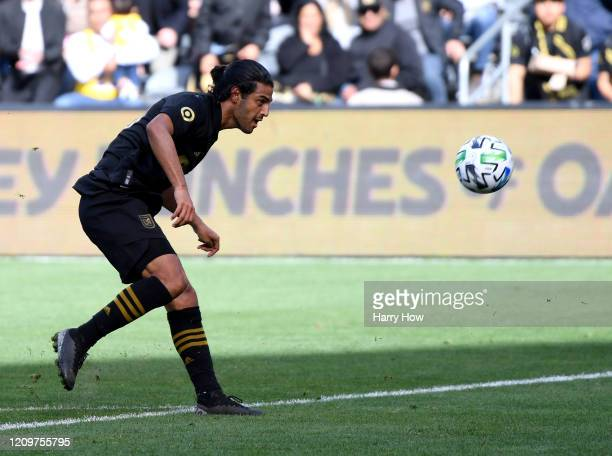 Carlos Vela of Los Angeles FC scores against Inter Miami CF to take a 11 lead during the first half at Banc of California Stadium on March 01 2020 in...