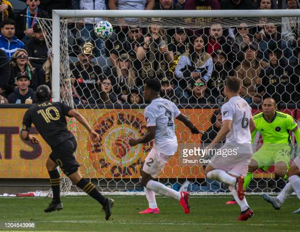 Carlos Vela of Los Angeles FC scores the gamewinning goal during the MLS match against Inter Miami at the Banc of California Stadium on March 1 2020...