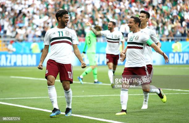 Carlos Vela of Mexico celebrates after scoring a penalty for his team's first goal during the 2018 FIFA World Cup Russia group F match between Korea...