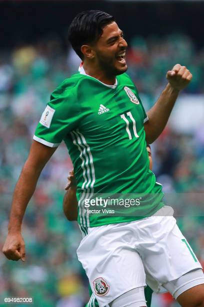 Carlos Vela of Mexico celebrates after scoring the first goal of his team during the match between Mexico and The United States as part of the FIFA...
