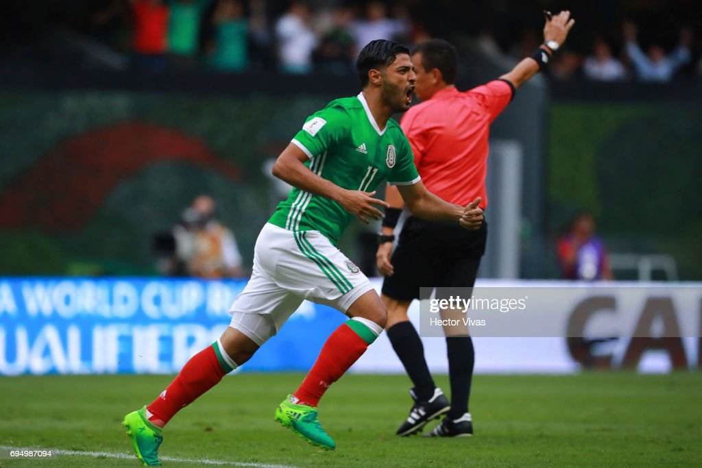 Carlos Vela of Mexico celebrates after scoring the first goal of his team during the match between Mexico and The United States as part of the FIFA 2018 World Cup Qualifiers at Azteca Stadium on June 11, 2017 in Mexico City, Mexico.