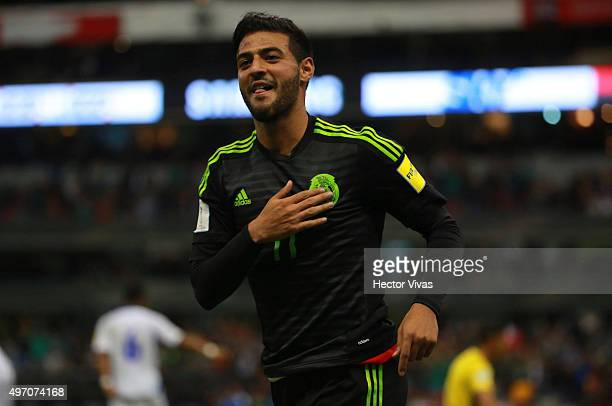Carlos Vela of Mexico celebrates after scoring the third goal of his team during the match between Mexico and El Salvador as part of the 2018 FIFA...